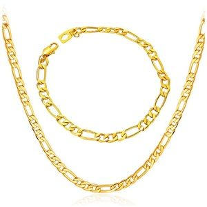 18k Yellow Gold Figaro Chain Necklace+Bracelet 5mm